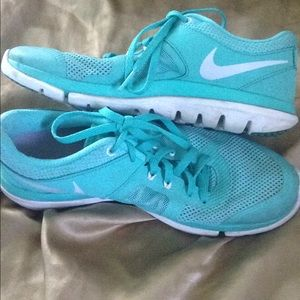 Bright blue Nike shoes